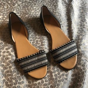 Black and white sandal flats open toed